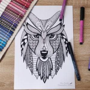 Loup mandala