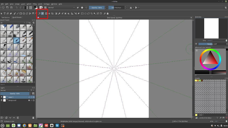 Interface de Krita avec le Multibrush Tool encadré pour montrer son emplacement