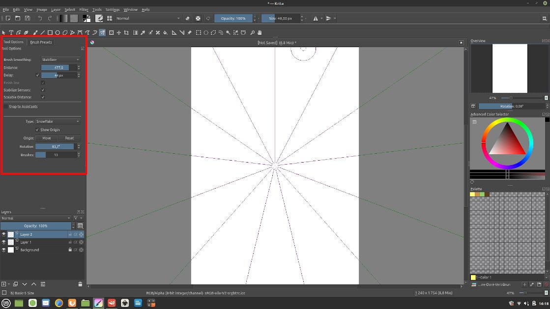 Interface de Krita pour montrer l'emplacement des Tool Options
