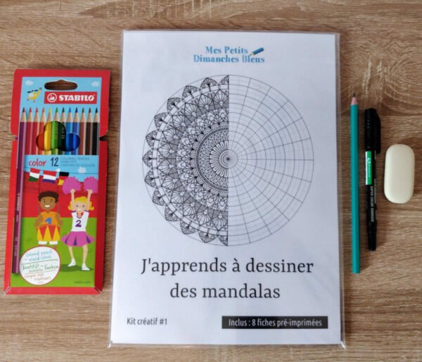 L'édition limitée du kit comprend un crayon HB, un marqueur noir double pointe, une gomme et un étui de 12 crayons de couleur